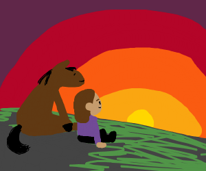 horse and girl watch the sun set