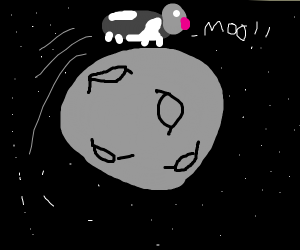 A cow jumps over the moon
