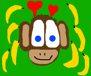 monkey is overwhelmed by bananas