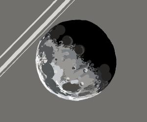 moon at grey shiney background