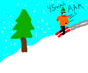 Man skiing dangerously fast towards tree