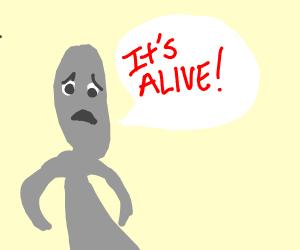 """Strange grey skintone guy says """"It's Alive!"""""""
