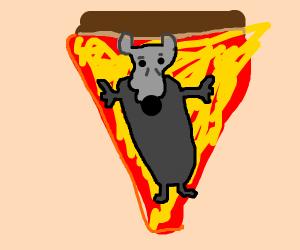 Rat sleeps in pizza bed