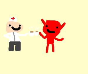 Nurse and satan having coffee together