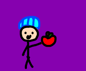 dude in beanie give apple