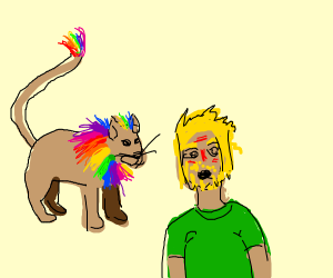 Gay lion suprises man