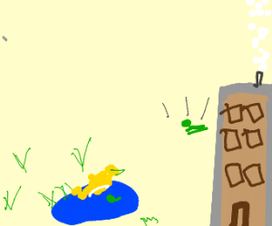 Duck observes kermit's suicide