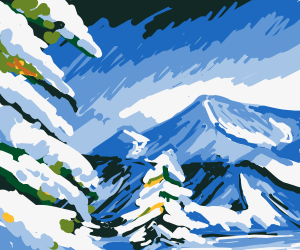 A Snowy Mountain with Snowy Pinetrees