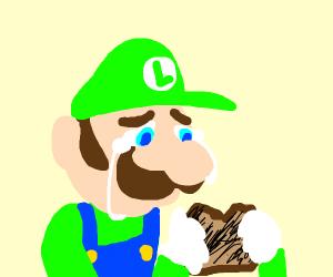 Luigi sad about burnt toast