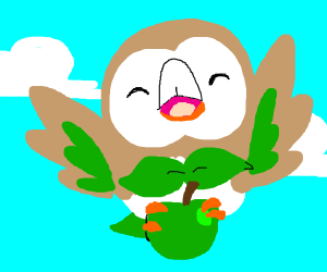 Rowlet shows us an apple