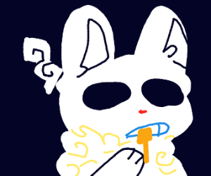 Soulless bunny washing their teeth