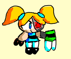 Cyborg Bubbles took Buttercup's clothes