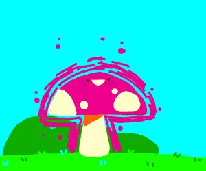 happy mushroom with pink aura