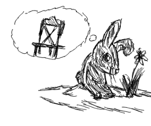 rabbit thinking of chairs