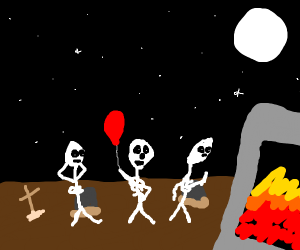 Skeleton w/ a balloon waits in a line.