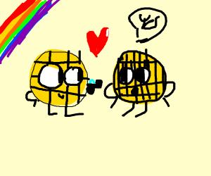 Waffles in love