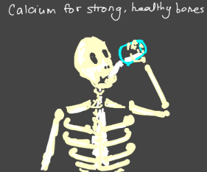 Skeleton Drinks Milk