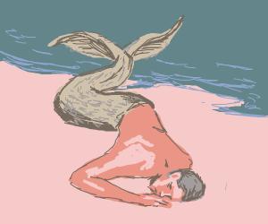 mermaid man sleeping.