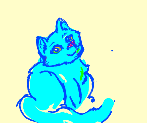 Cute Blue Anthro Kitten with green bow (femal