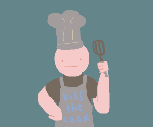 guy wearing kiss the cook apron