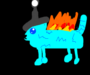 lit blue cat