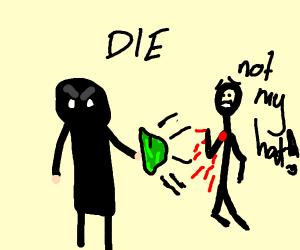 Terrorist kills a man with a green hat