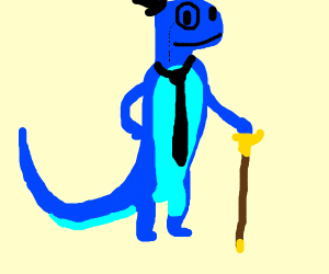 Blue lizard with monocle and top hat