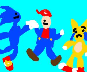 Mario and Sonic high five