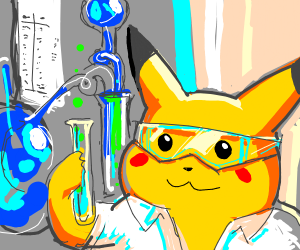 Pikachu doing science