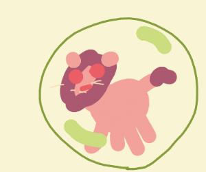 cute pink lion in bubble