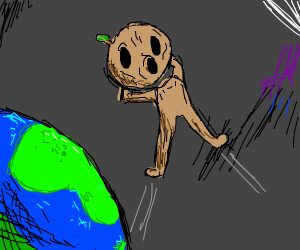 wood man flying above earth