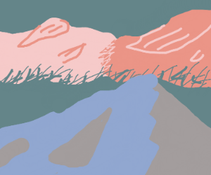 hills and pink clouds