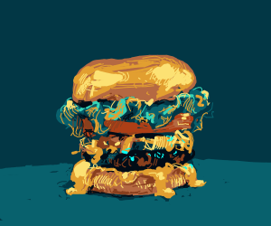 A burger with sauce dripping off