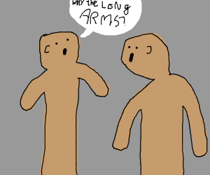man askin anoter man with long arms question