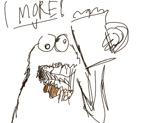 cookie monster has a caffeine addiction