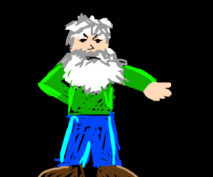 Angry man in green shirt