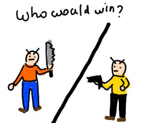 Who'd win? A guy w/ a gun or a guy w/ a knife