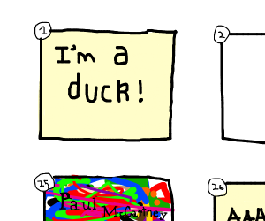 panel 1 says Im a duck