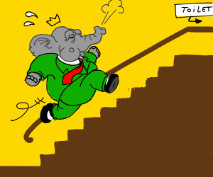 Elephant rocketing up the stairs