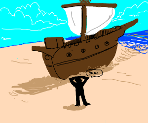oh heck oh no the ship is on land