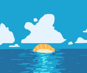 Sushi floating in ocean