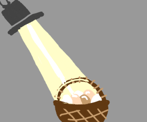 spotlight and a baket of eggs