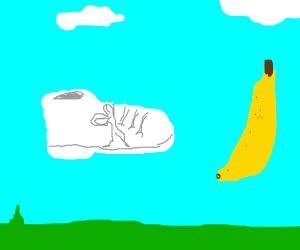 flying shoe and banana