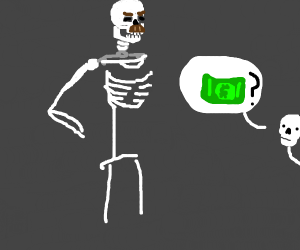 skeleton mad about his kids asking for money