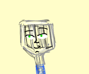 a spatula with a human face