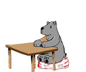 Grey bear on table eating toast