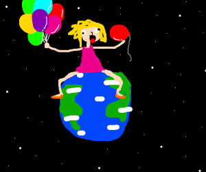 Balloon-hungry woman sits on Earth