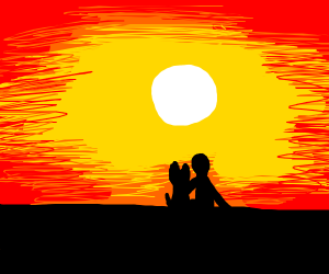 Man and dog silhouettes in a sunset