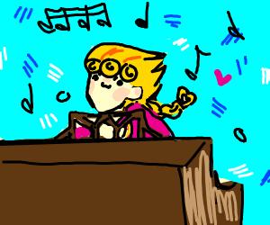giorno wielding his secret weapon (a piano)
