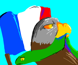 eagle holding snake in front of french flag